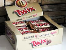 June 24, 2018. Izhevsk, Russia. A box of Twix chocolate. stock photos