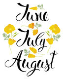 June, July, August Stock Photos