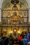 St. Nicholas Serbian Orthodox Church on St. Luke`s square at Kotor`s Old Town. June 19, 2016 - Kotor, Montenegro. St. Nicholas Serbian Orthodox Church on St stock photography