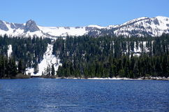 June lake. In California with snowy mountains and sunny sky Royalty Free Stock Photos