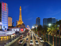 June 01, 2016 Las Vegas strip at dusk in Nevada, Las Vegas, USA royalty free stock photos
