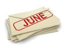 June letters  (clipping path included) Stock Photos