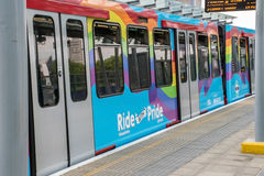 London Pride rainbow train pulls into tube station. Royalty Free Stock Photo