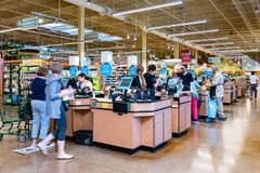 June 21, 2019 Los Altos / CA / USA - Whole Foods store cash register check out lanes, south San Francisco bay area; Amazon Prime stock image