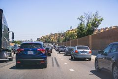 June 8, 2018 Los Angeles / CA / USA - Heavy traffic on one of the highways going to the city royalty free stock image