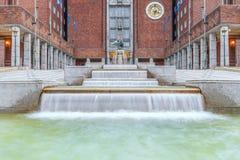 June 28, 2014. Main entrance of the Oslo City Hall.Oslo.Norway stock photo