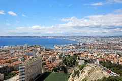 June 3, 2016 - Marseille, France : Aerial View of Marseille City. Background royalty free stock photo