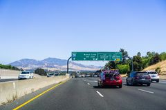 June 26, 2018 Martinez / CA / USA - Driving on the freeway in east San Francisco bay area; Mt Diablo in the background stock photography