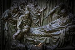 The door of the central entrance of the Duomo Cathedral of Milan with elements of the life of Jesus. Stock Photography
