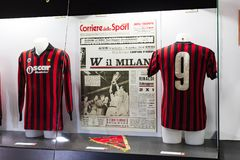 The museum is famous for players of football clubs Inter Milan and Milan T-shirts at the San Siro stadium. 6 JUNE 2018, MILAN, ITALY: The museum is famous for royalty free stock photos