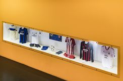 The museum is famous for players of football clubs Inter Milan and Milan T-shirts at the San Siro stadium. 6 JUNE 2018, MILAN, ITALY: The museum is famous for royalty free stock photo