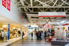 People shopping at the Great Mall, Milpitas. June 5, 2018 Milpitas / CA / USA - People shopping at the Great Mall, San Francisco bay area stock image