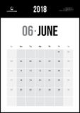 JUNE 2018. Minimalist Wall Calendar. Modern and Clean Minimalist Wall Calendar Stock Photography