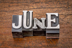 June month in metal type Royalty Free Stock Photo