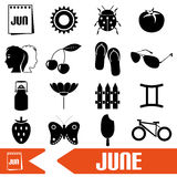 June month theme set of simple icons eps10 Royalty Free Stock Images