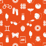 June month theme set of simple icons seamless pattern eps10 Royalty Free Stock Photography