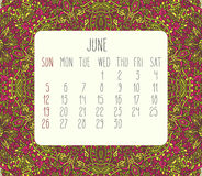 June 2016 monthly calendar. June 2016 vector monthly calendar over lacy doodle hand drawn background, week starting from Sunday Stock Images