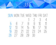 June 2016 monthly calendar Stock Images