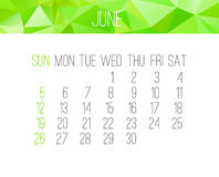 June 2016 monthly calendar Stock Photography