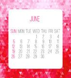 June 2016 monthly calendar Stock Photography