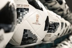 27 June 2018, Moscow, Russia. White official ball with logo of F royalty free stock image