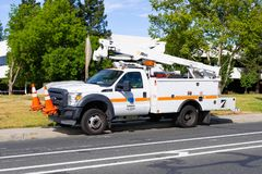 June 15, 2019 Mountain View / CA / USA - Caltrans California Department of Transportation maintenance vehicle stopped on the royalty free stock images