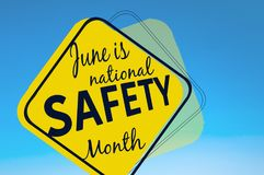 June is national safety month. Accident prevention campaign banner royalty free illustration