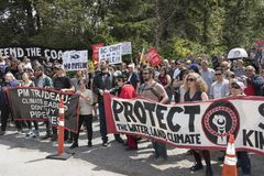 Kinder Morgan protesters against the government`s purchase of Kinder Morgan pipeline project. On June 2nd, 2018 protesters at the Kinder Morgan tank farm protest royalty free stock image