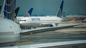 June 17, 2017: Newark International Airport, Newark, New Jersey, US-United Airlines jets at Newark International Airport stock photo