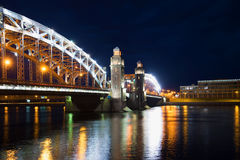 June night at the Bolsheokhtinsky bridge. Saint Petersburg, Russia Royalty Free Stock Images