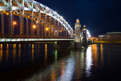 June night at the bridge of Peter the Great. Saint Petersburg Stock Image