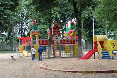 June, 2017, Odoev Russia: Folk Festival `Grandfather Filimon`s Tales` - a children`s playground stylized for the Moscow Kremlin stock image
