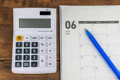 June organizer with calculator Royalty Free Stock Photos