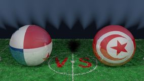 Panama versus Tunisia. 2018 FIFA World Cup.Original 3D image. June 28, Panama vs Tunisia 2018 FIFA World Cup.Original 3D image. Two balloons above a soccer Stock Image