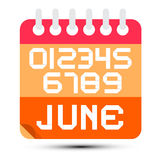June Paper Calendar Stock Photo
