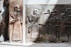 Ancient Babylonia and Assyria sculpture painting from Mesopotami Stock Photo