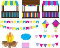 June Party. Colorful party decoration elements. June Party Royalty Free Stock Image