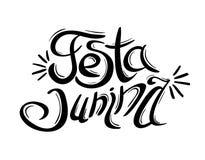 June party. Festa junina lettering. June party. Festa junina black and white lettering. Popular Brazilian harvest festival. Vector illustration isolated on white Royalty Free Stock Photography