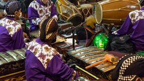 26 June 2020, Pati, Indonesia: Gamelan orchestra at a puppet show