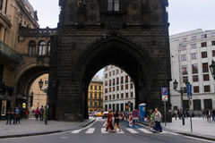 June 31 2016 Prague, Czech Republic: powder tower gate in old city of czech capital people tourist walking around Royalty Free Stock Image