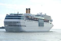 June 13rd, 2014. IJmuiden: Costa Neo Romantica leaving dock on j Stock Photos
