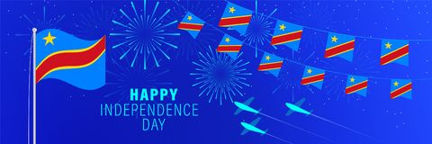 June 30 Republic of the Congo Independence Day greeting card.  Celebration background with fireworks, flags, flagpole and text. Vector illustration royalty free illustration