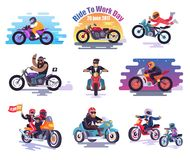 20 June 2017 Ride to Work Day Illustrations Set Stock Photography