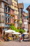 18 June 2012. Riquewihr in Alsace. Famous wine route. 18 June 2012. Riquewihr village with colorful traditional half-timbered french houses, Alsace, France Stock Photography