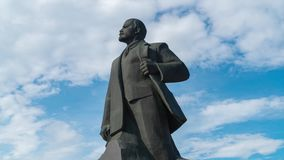 11 June 2018. Russia. The City Of Domodedovo. Day. Lenin monument in the Central city square. Timelapse stock video