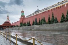 June 05, 2018. Russia, Moscow, Red Square. A view of the Kremlin, the Lenin Mausoleum and a necropolis at the Kremlin wall royalty free stock image