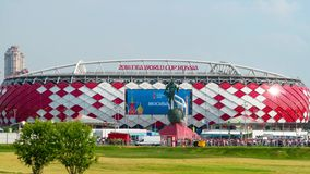 23 June 2018. Russia. Moscow. View of the stadium `Spartak` after the match Belgium - Tunisia. Fans come out of the. 23 June 2018. Russia. Moscow. View of the stock video footage