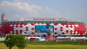 23 June 2018. Russia. Moscow. View of the stadium `Spartak` after the match Belgium - Tunisia. Fans come out of the. 23 June 2018. Russia. Moscow. View of the stock footage