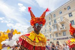 June 12, 2018, RUSSIA, VORONEZH: Parade of street theaters. International Platonic Festival royalty free stock images