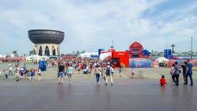 June 2018, Russian Federation, Tatarstan, Kazan. Fan fest area.1/8 football world Cup. June 2018, Russian Federation, Tatarstan, Kazan. The fan fest area 1/8 stock images